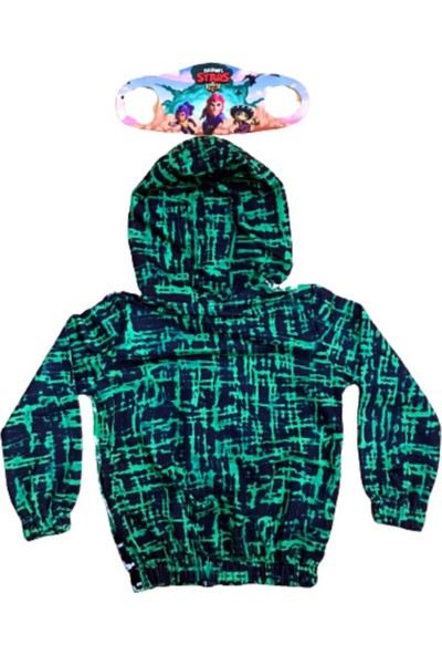 Brawl Stars Erkek Çocuk Brawl Stars Özel Tasarımı Kapüşonlü Fermuarlı Sweatshirt Yanında Maskesiyle