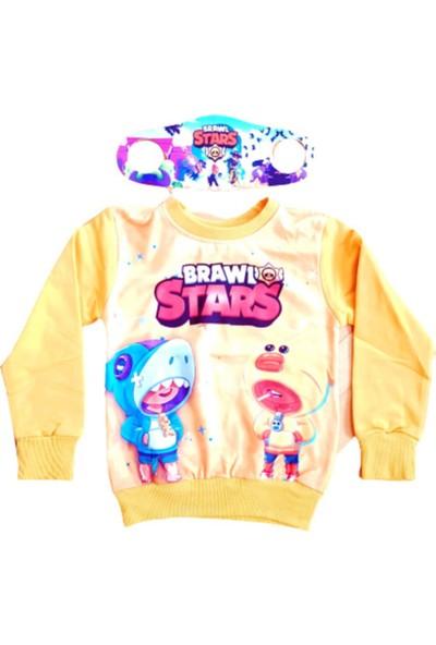 Brawl Stars Erkek Çocuk Sarı Brawl Stars Baskılı Sweatshirt Yanında Maskesiyle