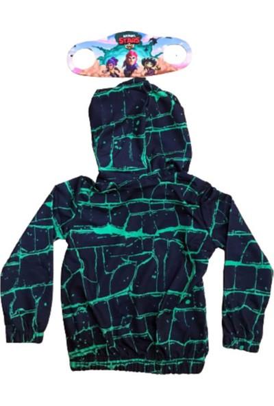 Brawl Stars Çocuk Yeşil Kapüşonlü Fermuarlı Sweatshirt Yanında Maskesiyle