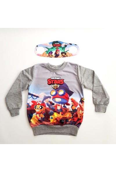 Brawl Stars Erkek Çocuk Gri Özel Tasarım Sweatshirt Yanında Maskesiyle