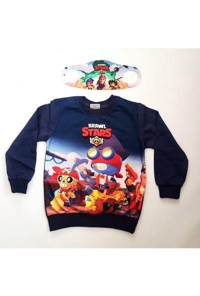 Brawl Stars Çocuk Lacivert Özel Tasarım Sweatshirt Yanında Maskesiyle ve Sweatshirt Yanında Maskesiyle