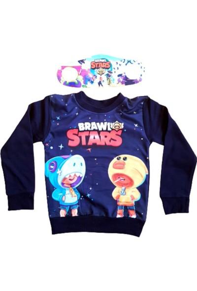 Brawl Stars Erkek Çocuk Lacivert Baskılı Sweatshirt Yanında Maskesiyle
