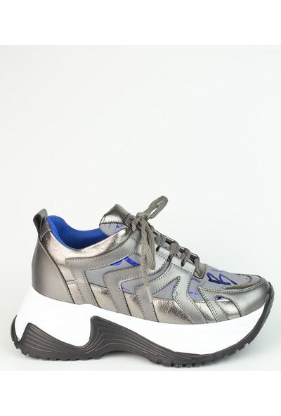 Marine Shoes Kadın Platin Bağcıklı Paraşüt Kumaş Spor Ayakkabı