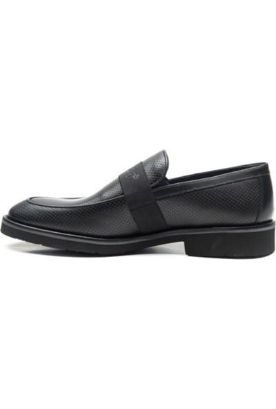 Fosco Bagciksiz Siyah Deri Erkek Günlük Ayakkabi 9580 46