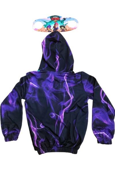 Brawl Stars Unisex Çocuk Lila Özel Tasarımı Özel Baskı Kapüşonlü Fermuarlı Sweatshirt