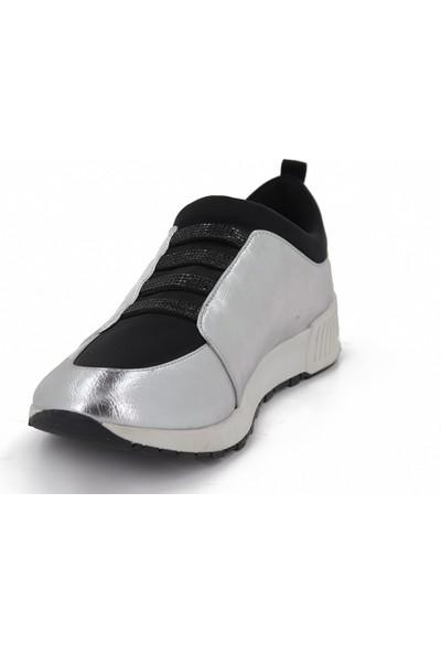 Prins Gümüş Deri Kadın Spor Ayakkabı 104