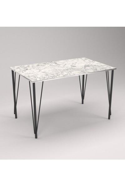 Som Tasarım Beyaz Mat Mermer Desenli Parlak Kenarlı Yemek Masası