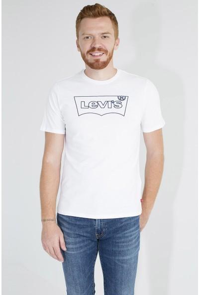 Levi's Logo Baskılı Bisiklet Yaka % 100 Pamuklu T Shirt Erkek T Shirt 22489