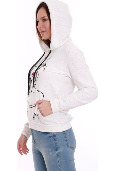 Banuhan Kapşonlu Kanguru Cepli Baskılı Sweat Beyaz
