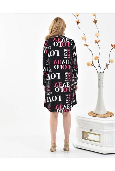 Banuhan Love Baskılı Viskon Elbise