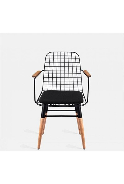 Heka Home Ahşap Ayaklı Kolçaklı Bar Sandalyesi