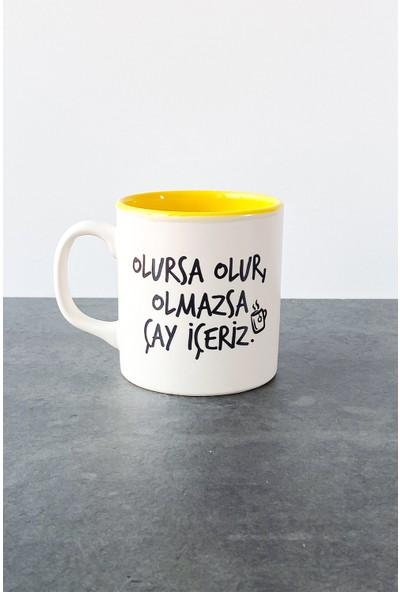 Refikadan Olmazsa Çay Içeriz Mat Kupa Sarı