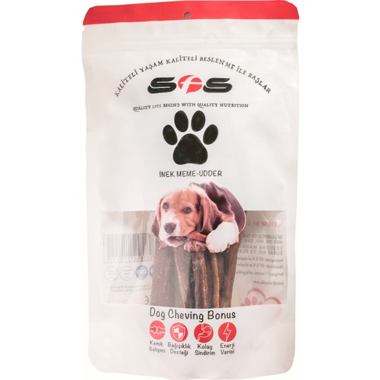 Sfs Köpek Maması İnek Meme Paket İçeriği 100Gr %100 Doğal Çiğneme Ürünü