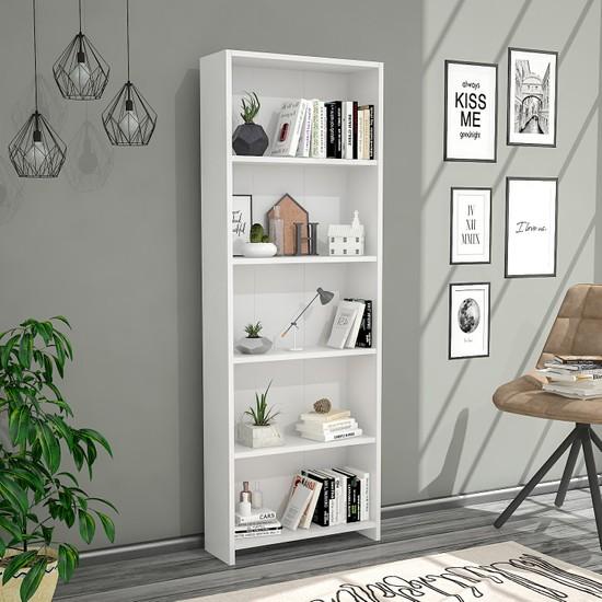 Hepsi Home 5 Raflı Kitaplık - Beyaz