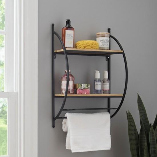 Abronya Metal Ahşaplı Banyo Rafı Banyo Aksesuarları Çok Amaçlı Raf Modelleri 1 Adet