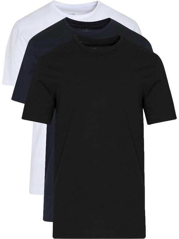 Hatemoğlu Bisiklet Yaka Basic 3'Lü Pamuklu T-Shirt
