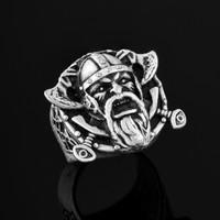 Apptakı Eski Iskandinav Viking Çift Baltalı Savaşçı Erkek Yüzük YÜZ0203