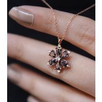Papatya Silver 925 Ayar Gümüş Taşlı Kamelya Çiçeği Kadın Kolye
