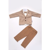 Bej Papyonlu Body Ekose Ceket Erkek Bebek Mevsimlik Takım