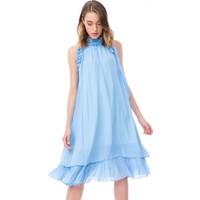 Gizia Fiyonk Detay Işlemeli Fırfırlı Şifon Midi Boy Mavi Elbise