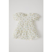 DeFacto Kız Bebek Çiçek Desenli Kısa Kol Dokulu Elbise