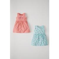 DeFacto Kız Bebek Flamingo Desenli 2'li Kolsuz Elbise