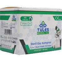 Tules Steril Gazlı Bez Gaz Kompres Spanç 7,5 x 7,5cm 100 Adet