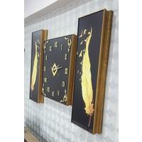 Hanem Grup 3 Parçalı Sarı Tüy Dekoratif Duvar Saati