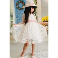 MNK Krem 3 Yaş Şapkalı Dantelli Kız Çocuk Elbise
