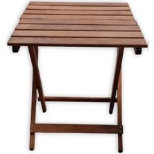 Mavi Trend Ahşap Katlanır Masa Piknik Masası Balkon Masası