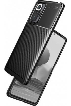 Kilifplus Xiaomi Redmi Note 10 Pro Kılıf Karbon Fiber Silikon Lacivert