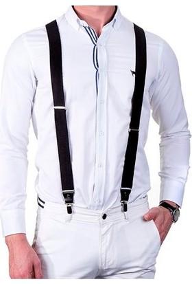 Biblio Erkek Pantolon Askısı / Siyah Beyaz Çizgili