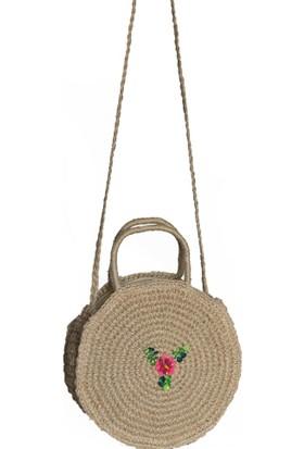kavshak Kadın Çiçek Detaylı El Yapımı Hasır Çanta
