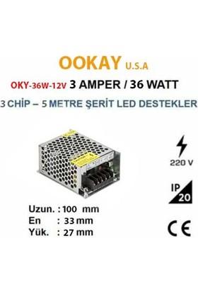 Ookay 36W Şerit LED Trafosu 3A Ookay U,s,a