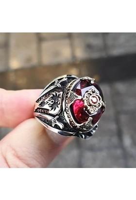 Alyansevim Kırmızı Taşlı Yeni Tasarım Gümüş Yüzük