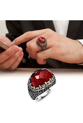 Alyansevim Kırmızı Taşlı Faset Kesim 925 Gümüş Erkek Yüzüğü