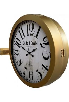 Bahat Çift Taraflı Gold Altın Metal Istasyon Duvar Saati 36*48 cm