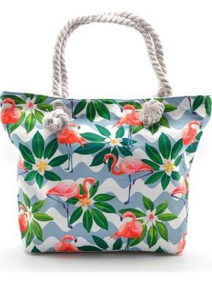 Moda1001 Flamingo Baskılı Çok Renkli Su Geçirmez Plaj Çantası Desenli