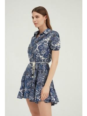 Quzu Gömlek Yaka Volanlı Mini Elbise Lacivert