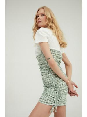 Quzu Desenli Gipeli Mini Elbise Mint