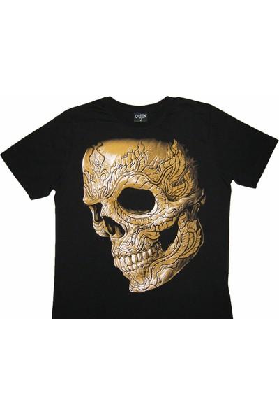 Orijin Kurukafa Skull Siyah Erkek Tişört