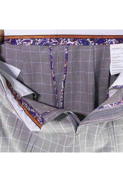 Akıncı Tekstil 3 Pileli Şalvar Pantolon Kışlık Gri Ekoseli