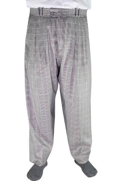 Akıncı Tekstil Kışlık Şalvar Pantolon 4 Pileli Gri Ekoseli