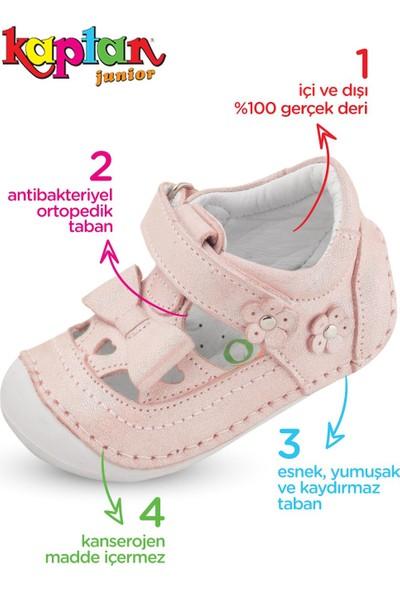 Kaptan Junior Ilkadım Hakiki Deri Kız Bebek Çocuk Ortapedik Ayakkabı Patik Imsk 601