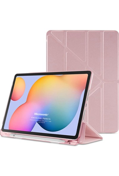 "Fuchsia Samsung Galaxy Tab S6 Lite Sm P610 10.4"" Kılıf Kalem Bölmeli Tri Folding Smart Standlı Pu Deri Arkası Yumuşak 360 Tam Koruma Rose Gold"