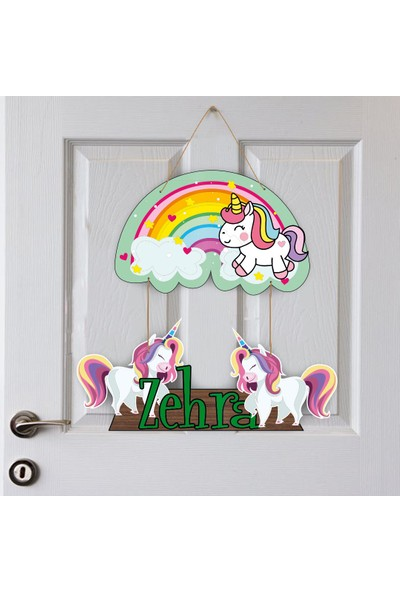 Kapbirhediye İsme Özel Bebek Odası Ahşap Kapı Süsü Unicorn