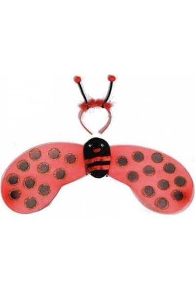 Doop Market Kırmızı Uğur Böceği Kanadı - Taç Set Kız Çocuğu Kostümü