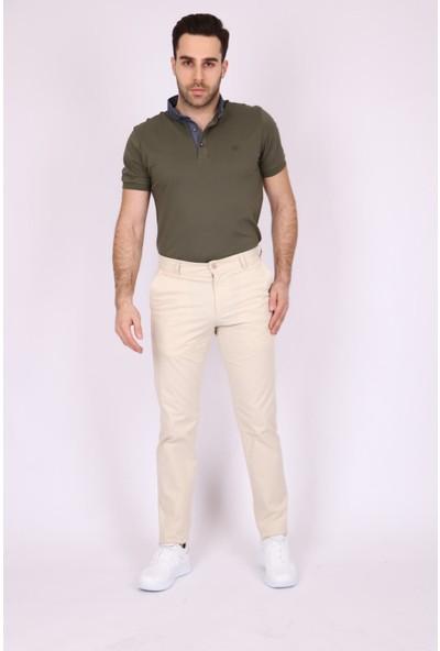 Aclassics Erkek Bej Kanvas Pamuk Slim Fit Dar Kesim Yan Cep Pantolon