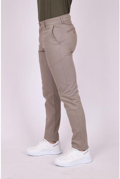 Aclassics Erkek Vizon Kanvas Pamuk Slim Fit Dar Kesim Yan Cep Pantolon