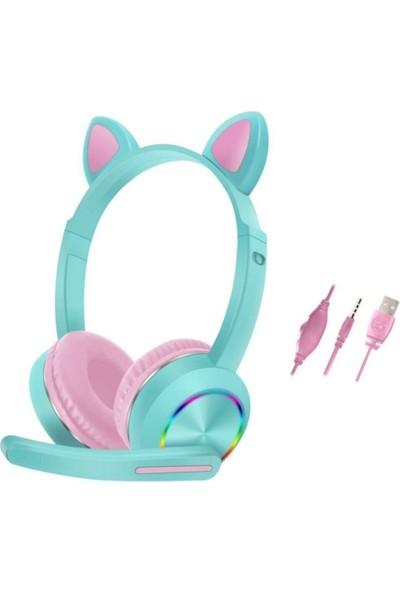 BluppleAKZ-020 Kedi RGB Kulak Üstü Kulaklık Turkuaz Çocuk